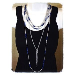 TRUE BLUE Premier Designs long Necklace NWT